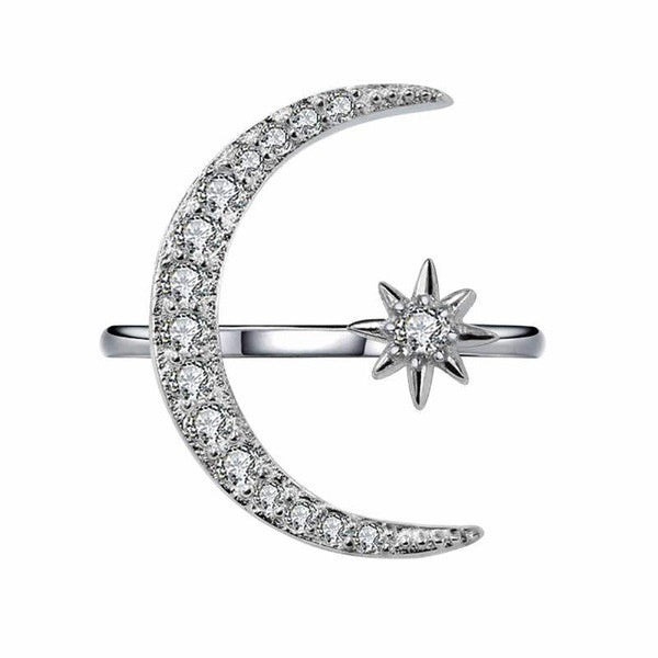 Lovely Silver In Gold Filled Crescent Moon & Star Diamond Rings Engagement Bridal Wedding Rings Fashion Jewelry Suitable Size: Adjustable for 4-12