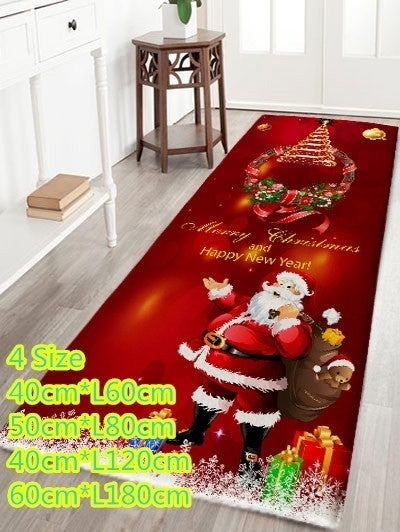 4 Size Home Decor Christmas Wreath Santa Claus Rugs Bath Mat Bath Rugs Anti-Slip Kitchen Mats Bathroom Mat Bathroom Carpet