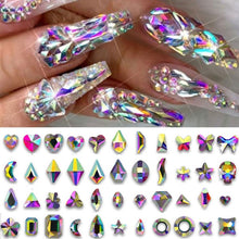 Load image into Gallery viewer, AB Flatback Nail Rhinestones Diamond Teardrop Horse Eye Crystals Stones Shiny Gems Manicure Nails Art Decorations