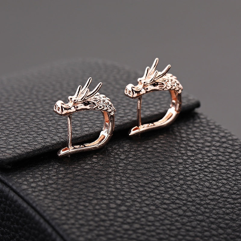 Fashion Personality Dragon Head Hoop Earrings for Men Women 18K Gold Dragon Earrings Gold Hoop Round Earrings Hip Hop Motorcycle Party Jewelry Gifts