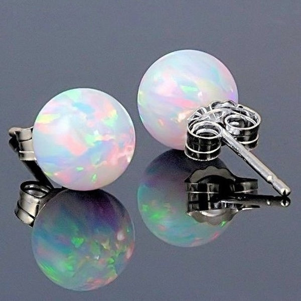 Fashionable round white Opal natural stone earrings Round Opals Silver Charming Stud Earrings