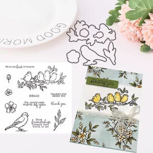 Bird Flower Silicone Clear Stamp Rubber Seal Metal Cutting Dies for DIY Scrapbooking Decoration Thanksgiving Card Making