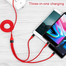 Load image into Gallery viewer, 0.5M/1.2M/2M 3 in 1 USB Fast charging Cable For iPhone Samsung Xiaomi Multi Fast Charge Charger Micro USB Cable Mobile Phone USB Type C Cable