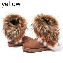 Load image into Gallery viewer, Autumn Winter Women's Snow Boots Ankle Boots Warm Synthetic Fur Fringed Middle Tube Shoes