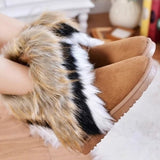 Autumn Winter Women's Snow Boots Ankle Boots Warm Synthetic Fur Fringed Middle Tube Shoes