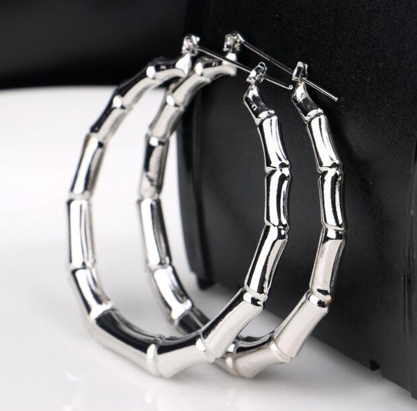 Women's Fashion Brand 925 Silver 5cm Big Circles Hoop Earrings Jewelry Gifts for Women Colour: Gold, Silver