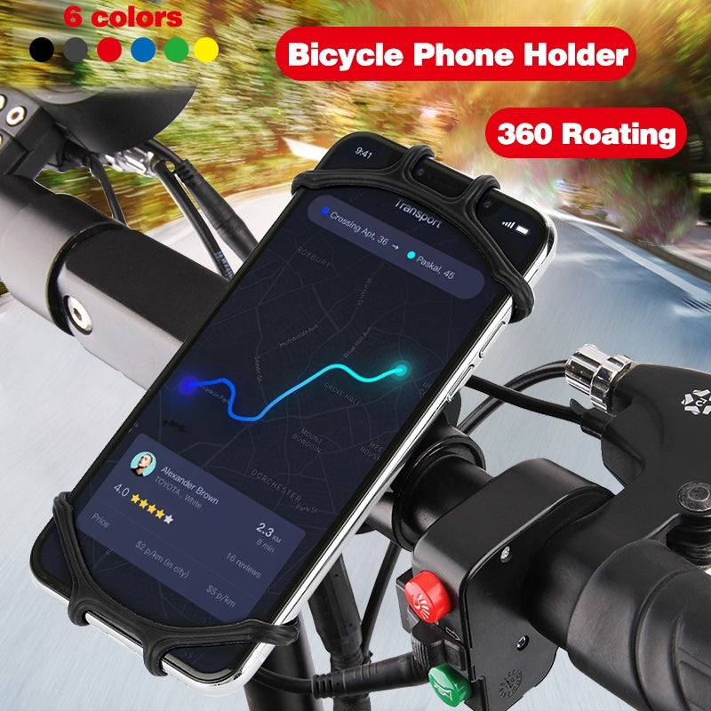 Motorcycle handlebar bracket universal riding mobile phone bracket Creative Silicone Bicycle Phone Holder 360¡ãRotation Silicone Bicycle Phone Holder