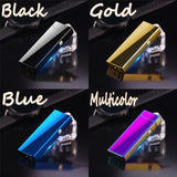 New Fashion Metal Electronic Cigarette Lighter USB Rechargeable Windproof Flameless Lighters Cigar Lighter Men Gifts