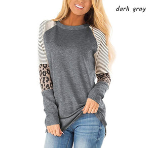 Women's Long Sleeve Leopard Color Block Tunic Comfy Stripe Round Neck T Shirt Tops