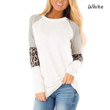 Load image into Gallery viewer, Women's Long Sleeve Leopard Color Block Tunic Comfy Stripe Round Neck T Shirt Tops
