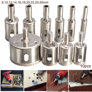 15/10Pcs 6mm-50mm/10Pcs 8mm-50mm/10Pcs 6-30mm Diamond Hole Saw Drill Bit Tool For Ceramic Porcelain Glass Marble 6/8/10/12/14/16/18/20/22/25/26/28/30/40/50mm