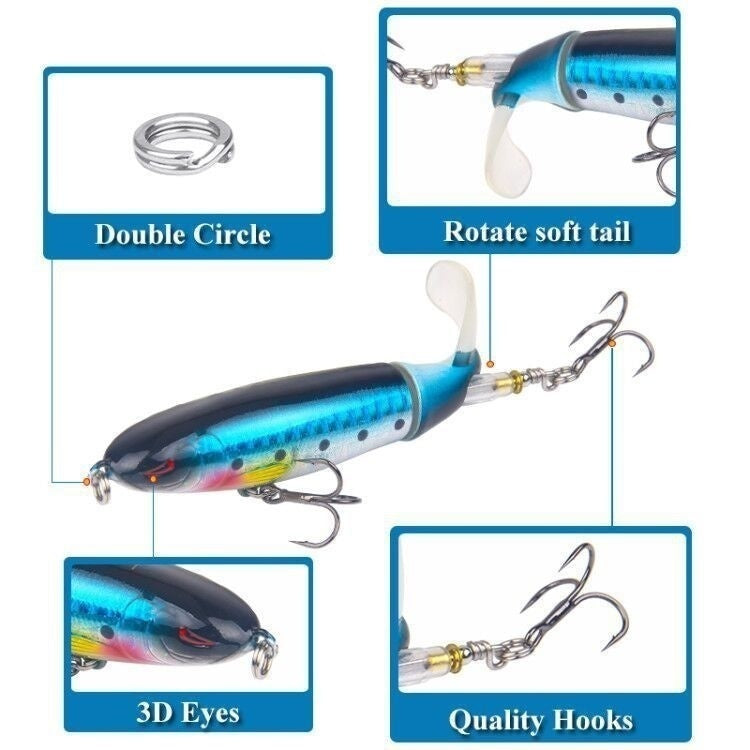 2019 New Propeller Tractor Fishing Lure13g/9cm Hard Bait Floating Water Pencil Outdoor Topwater Whopper Plopper Fishing Tackle