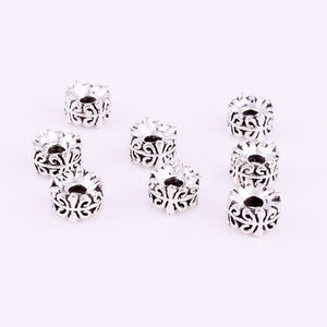 Nice 30pcs Tibetan silver Round Loose Spacer Beads DIY Jewelry Making 7x4mm XZ18130#