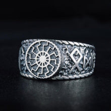 Load image into Gallery viewer, Gothic Vintage 316L Titanium Steel Black Sun Viking ODIN Rune Ring Men's High Quality Amulet Jewelry Gift