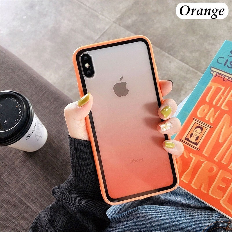New Vitality Color Tempered Glass Case for Iphone X Xr Xs Max Cover Soft TPU Case for Iphone 6 6s 7 8 Plus Shell Case