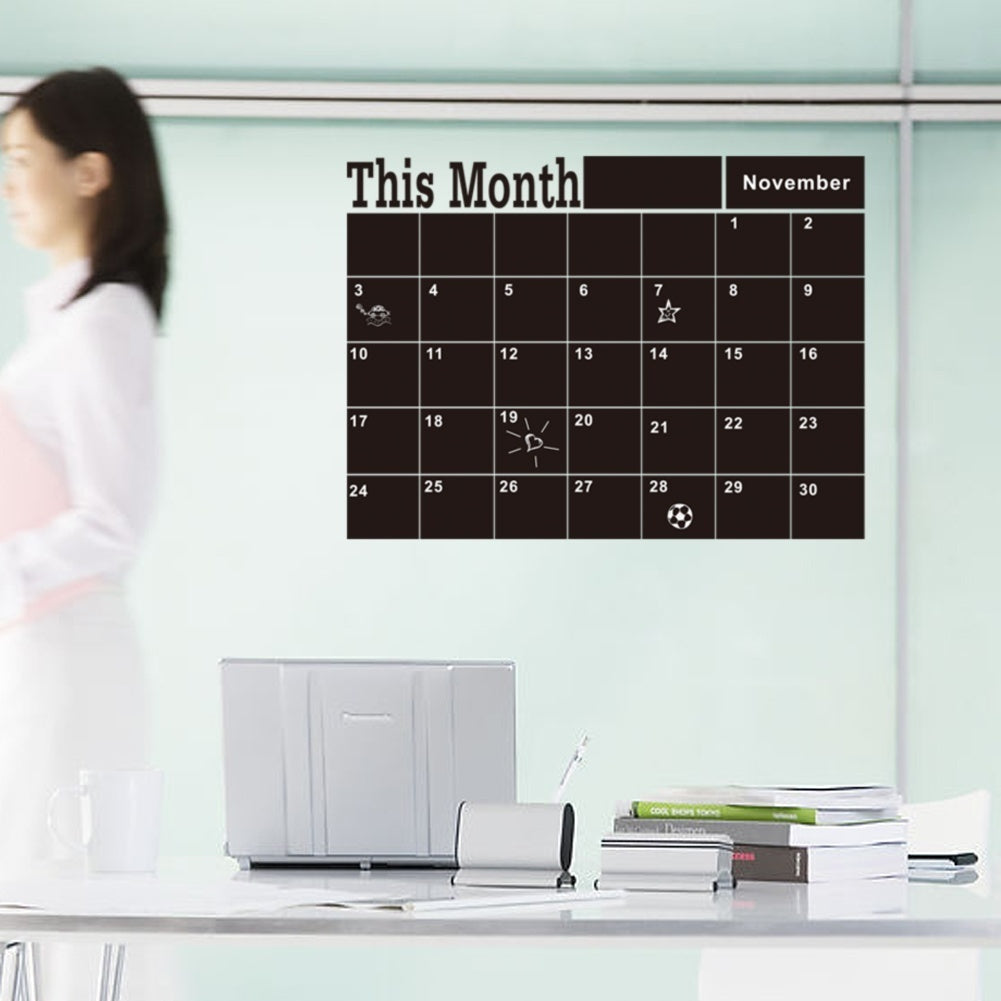 Monthly And Week Planner Chalkboard Chalk Blackboard Wall Sticker Decor Month Plan Calendar DIY
