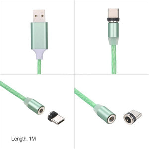 2019 New Style LEDs Lighting With Magnetic Adsorption Charger Cable Mobile Fast Charge USB Cable For IPhone/Android/Type C(Length:1M