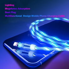 Load image into Gallery viewer, 2019 New Style LEDs Lighting With Magnetic Adsorption Charger Cable Mobile Fast Charge USB Cable For IPhone/Android/Type C(Length:1M