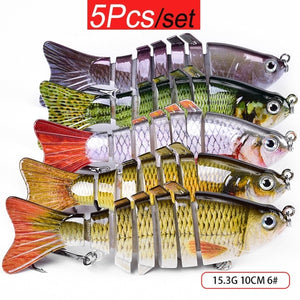 5pcs/Set Fishing Lures Swimbait Crankbait Bait 10cm/15.3g 7-Segemants Artificial Lures Fishing Tackle