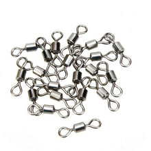 Load image into Gallery viewer, 50Pcs Ball Bearing Swivel Solid Rings Fish Connector Round 8 Shape Eye Rolling Swivels Rig Sea Carp Fishing Tools Multi Sizes