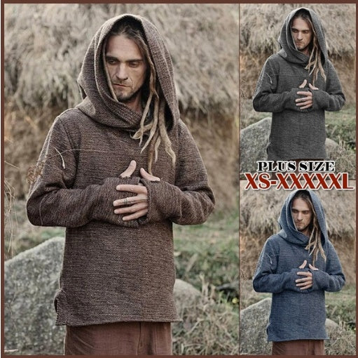 Mens Medieval Knight Hooded Vintage Long Sleeve Hoodies