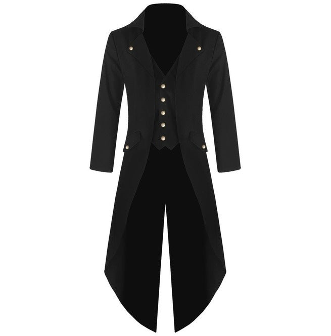 Men's Coat Fashion Steampunk Vintage Tailcoat Jacket Gothic Victorian Frock Coat Role-play Costumes S-4XL