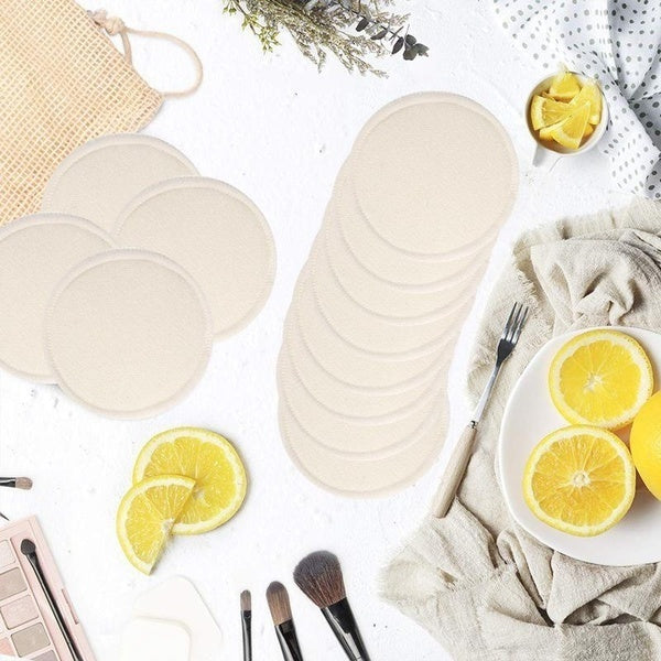 12Pcs Bamboo Reusable Makeup Remover Pads Wipes Washable Facial Cleansing Pad Women Skin Cleaning Fiber Facial Cotton Rounds Pads Nursing Pads With Laundry Bag