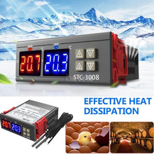 Load image into Gallery viewer, Dual Digital Display Thermostat Temperature Regulator Temperature Controller with Double NTC Probe Heater Sensor Probe Two Relay Output 12V/24V/110-220V