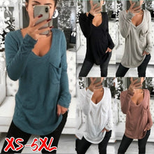 Load image into Gallery viewer, Womens Casual Long Sleeve V-collar Loose Pocket Bottom T-shirt Plus Size Tops