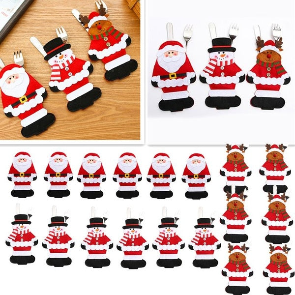 1/3/6PC Christmas Table Decorations Cutlery Bag Tableware Covers Santa Claus/Snowman/Elk Kitchen Silverware Holders Pockets Meal Bag