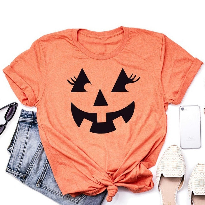 Halloween Shirt - Jack O Lantern - Cute Eyelashes - Pumpkin Shirt - Halloween Costume - Trick or Treat - Pumpkin Face