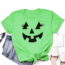 Load image into Gallery viewer, Halloween Shirt - Jack O Lantern - Cute Eyelashes - Pumpkin Shirt - Halloween Costume - Trick or Treat - Pumpkin Face
