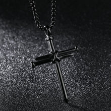 Load image into Gallery viewer, Mens Jewelry Stainless Steel Nail and Rope Cross Pendant Necklace