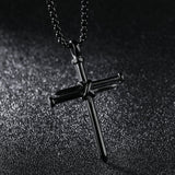 Mens Jewelry Stainless Steel Nail and Rope Cross Pendant Necklace