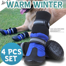 Load image into Gallery viewer, 4PCS Waterproof Anti-slip Pet Dog Shoes Boots Booties For Snow Winter Reflective (Color: Blue & Rose red)