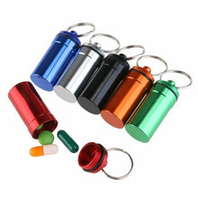 Load image into Gallery viewer, 6PCS Waterproof Aluminum Pill Box Case Bottle Drug Holder Keychain Container