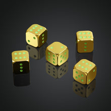 Load image into Gallery viewer, 5pcs Metal Dice KTV Party Bar Games Props Fun Entertainment Luminous Dice Die Magic Props (Normal and Luminous Optional)