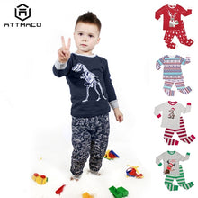 Load image into Gallery viewer, ATTRACO Kids Pajamas Set Long Sleeve Sleepwear Dinosaur Print Soft Skin-friendly  2 Piece Cotton  2-7 Years Boys Girls