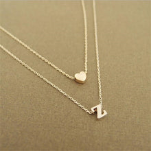 Load image into Gallery viewer, 1 Pc Gold 26 Letters Long Sweater Chain Choker Necklaces Tiny Love Heart Pendants for Women Chain Necklace Chain Chocker