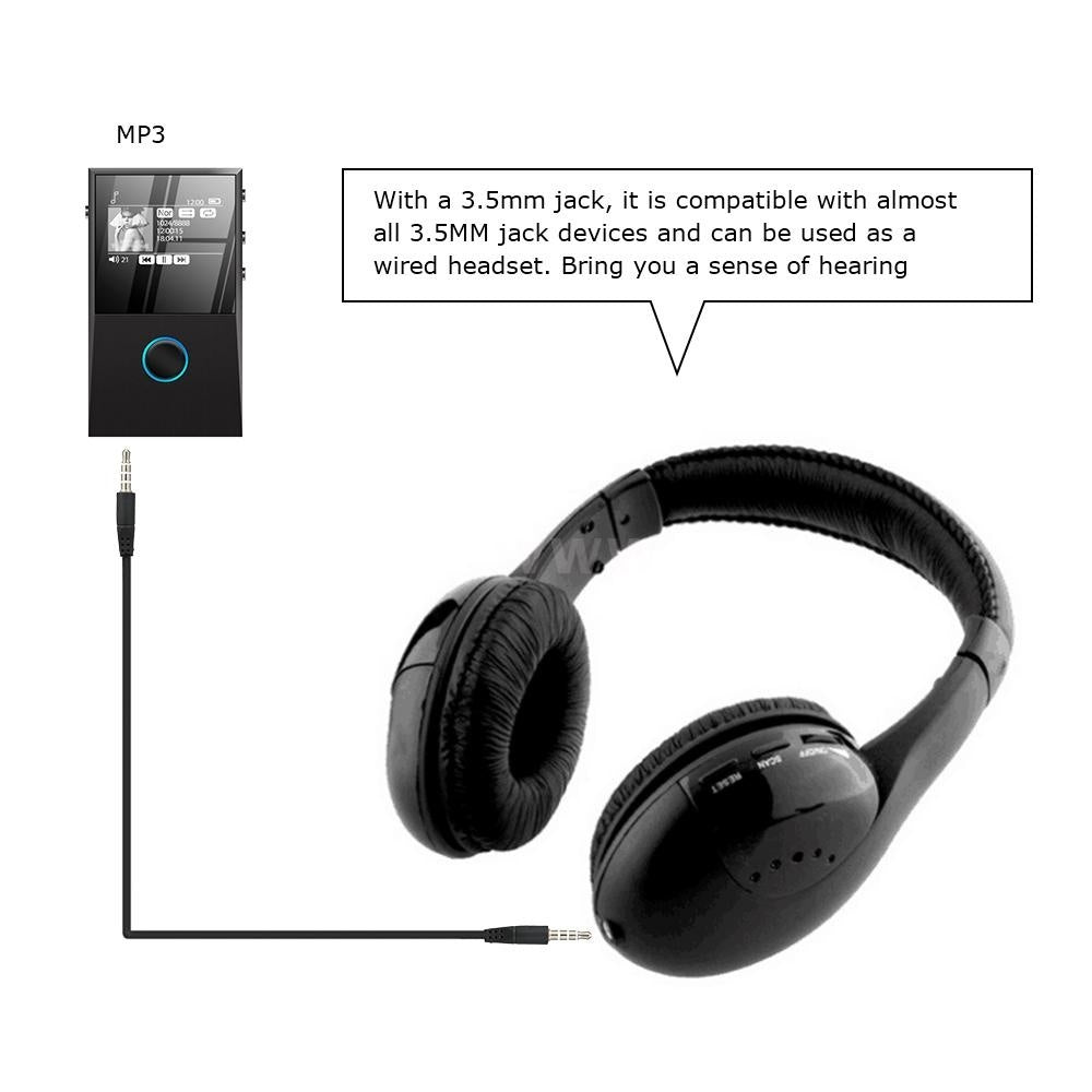 KUBITE MH2001 Wireless Headphones Transmitter On Ear Headset with FM Radio Wireless TV Headset Monitor Earphone for TV PC Smart Phone