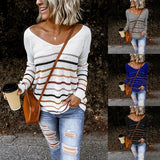 Women Ladies Lightweight Striped Sweaters Fall Long Sleeve Jumpers Sweater