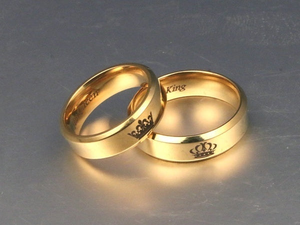 HOT SALE Fashion Accessories Valentine Gifts ''His Queen''''Her King '' Stainless Steel Couple Ring His and Hers Matching Rings Unique Gift for Lovers Wedding Jewelry Stainless Steel His Queen and Her King Couple Rings for Lovers'