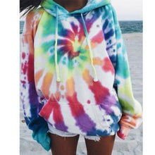 Load image into Gallery viewer, Autumn and Winter Women Fashion Sweatshirt Multicolor Print Oversized Rainbow Tie Dye Hooded Hoodie