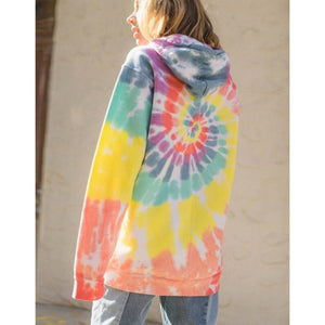 Autumn and Winter Women Fashion Sweatshirt Multicolor Print Oversized Rainbow Tie Dye Hooded Hoodie