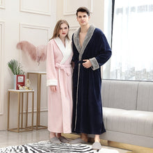 Load image into Gallery viewer, Women Men Elegant fur Thickening Flannel Extra Long Thermal Bathrobe Winter Kimono Warm Bath Robe Dressing Gown Plus Size Robes