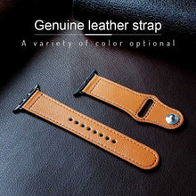 Load image into Gallery viewer, Genuine Leather Band Replacement Strap with Stainless Metal Rivets for Apple Watch iWatch Series 4/3/2/1 38mm/40mm/42mm/44mm