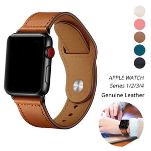 Genuine Leather Band Replacement Strap with Stainless Metal Rivets for Apple Watch iWatch Series 4/3/2/1 38mm/40mm/42mm/44mm