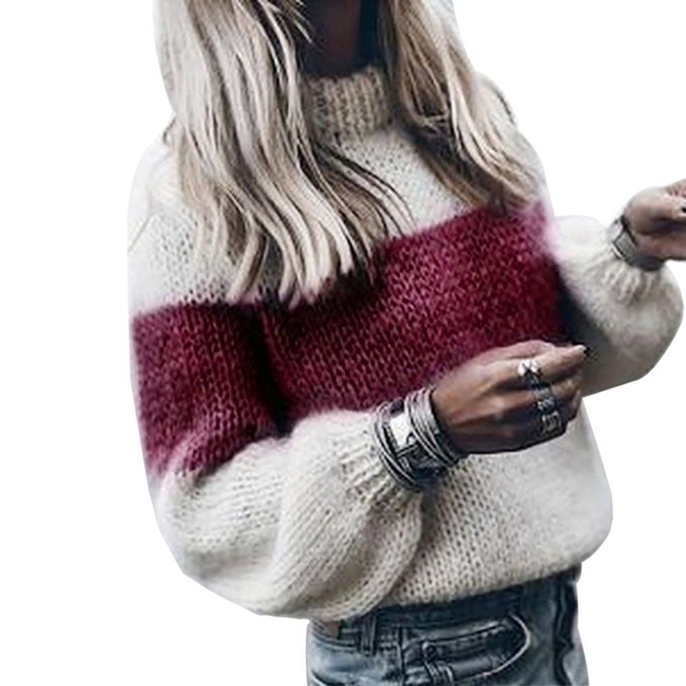 Women Solid High Collar Loose Knitted Pollover Sweater Blouse Women AutumnWinter Sweater
