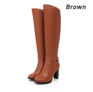 Knee High Boots 2019 Women's Fashion Shoes Sexy High Heel Boots Winter Footwear Fur Warm Boots Thigh High Boots Plus Size 34-43