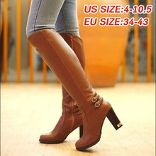 Load image into Gallery viewer, Knee High Boots 2019 Women's Fashion Shoes Sexy High Heel Boots Winter Footwear Fur Warm Boots Thigh High Boots Plus Size 34-43